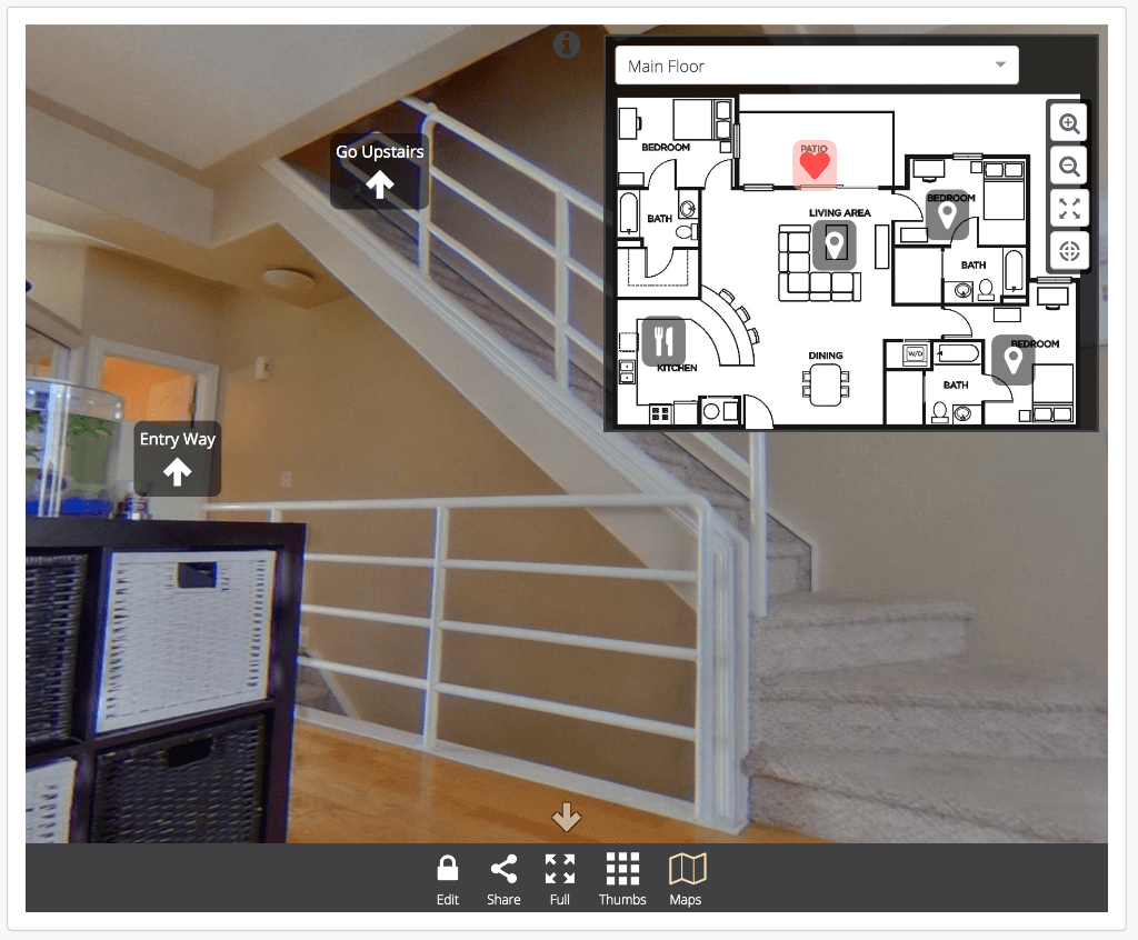 Add a 2d map or floor plan to your 360 image or virtual for Floor plan virtual tour